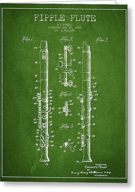 Wind Instrument Greeting Cards -  Fipple Flute Patent drawing from 1959 - Green Greeting Card by Aged Pixel