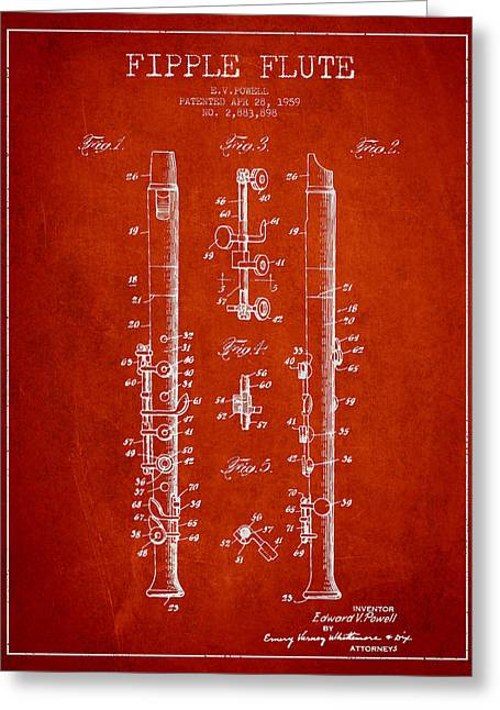 Wind Instrument Greeting Cards -  Fipple Flute Patent drawing from 1959 - Red Greeting Card by Aged Pixel