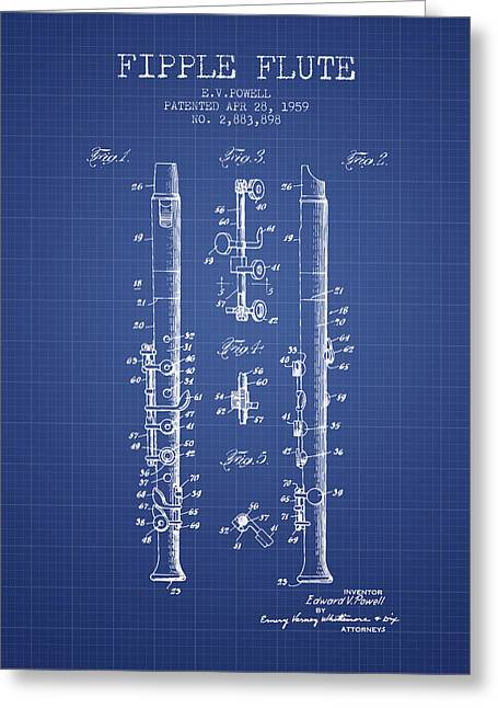 Wind Instrument Greeting Cards -  Fipple Flute Patent from 1959 - Blueprint Greeting Card by Aged Pixel