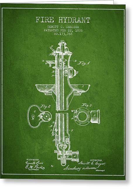 Firemen Art Greeting Cards -  Fire Hydrant Patent from 1876 - Green Greeting Card by Aged Pixel