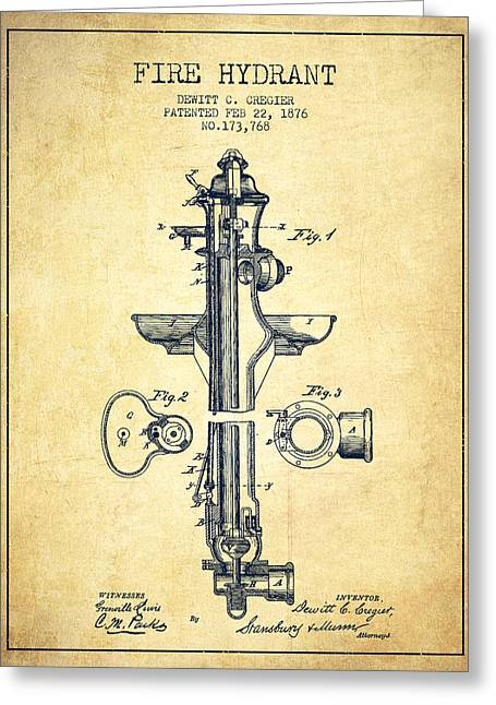 Firemen Art Greeting Cards -  Fire Hydrant Patent from 1876 - Vintage Greeting Card by Aged Pixel