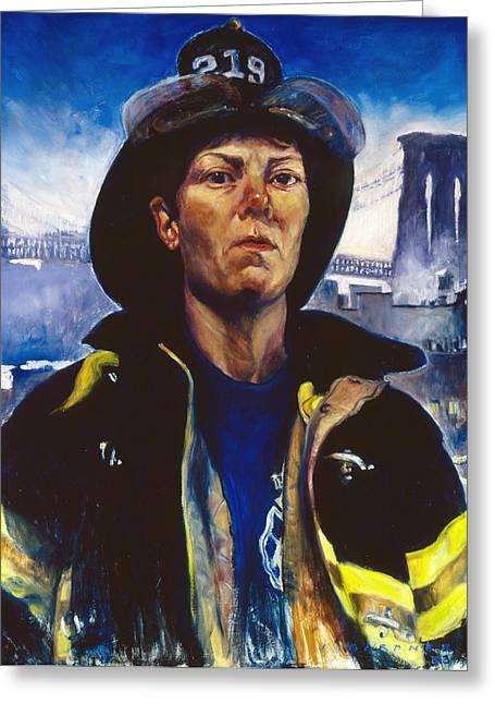 Civil Service Work Greeting Cards -  Firefighter Brenda Berkman Greeting Card by Jesse Gardner