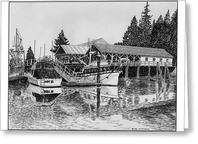 Misty. Drawings Greeting Cards -  Fishermans Net Shed Gig Harbor Greeting Card by Jack Pumphrey