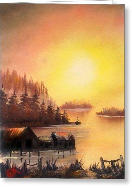 Bob Ross Paintings Greeting Cards -  Fishermans Retreat. Greeting Card by Fineartist Ellen