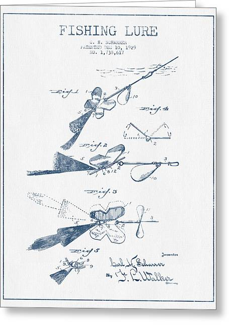 Fishing Greeting Cards -  Fishing Lure Patent Drawing from 1929 - Blue Ink Greeting Card by Aged Pixel