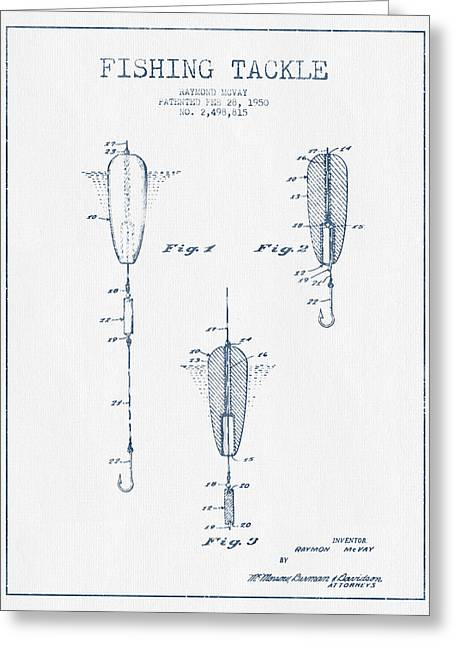 Fishing Greeting Cards -  Fishing Tackle Patent Drawing from 1950 - Blue Ink Greeting Card by Aged Pixel