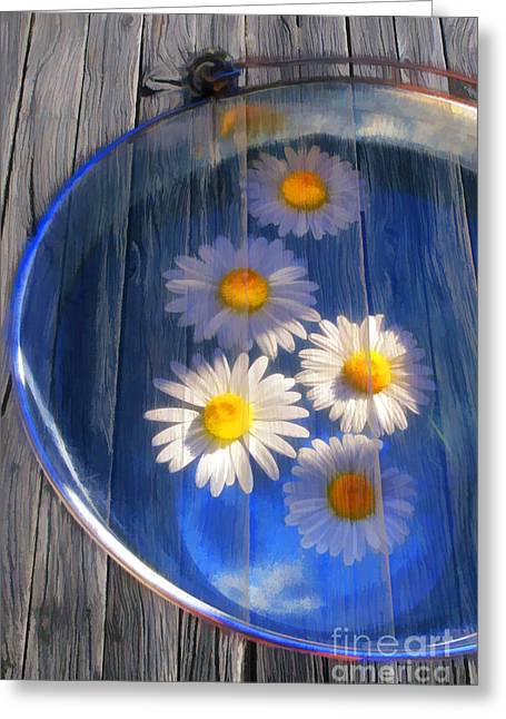 Daisy Digital Greeting Cards -  Five daisies Greeting Card by Veikko Suikkanen