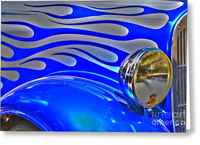 Air Brush Greeting Cards -  Flames Greeting Card by Cheryl Young