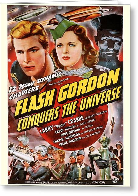 Suspense Mixed Media Greeting Cards -  Flash Gordon Conquers the Universe 1940 Greeting Card by Presented By American Classic Art