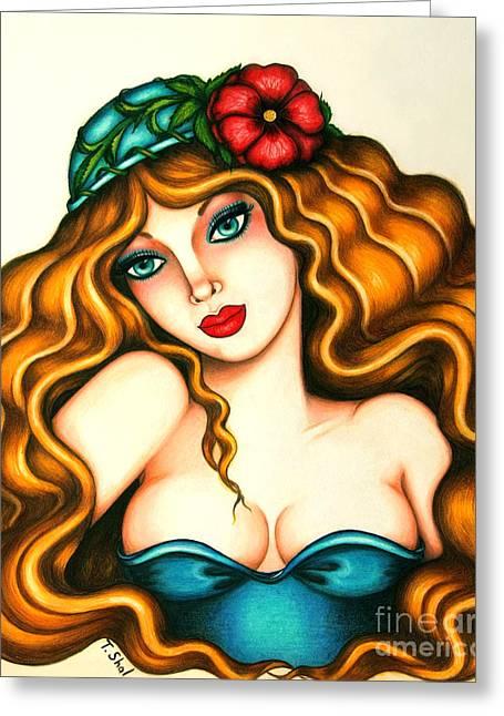 Layers Drawings Greeting Cards -  Flower Hat Greeting Card by Tara  Shalton