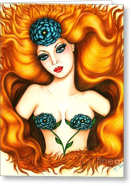 Layers Drawings Greeting Cards -  Flower In The Blaze Greeting Card by Tara  Shalton