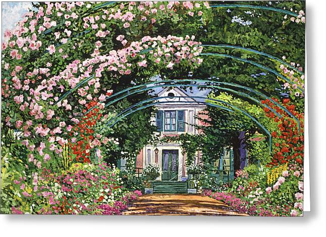 Painterly Greeting Cards -  Flowering Arbor Giverny Greeting Card by David Lloyd Glover