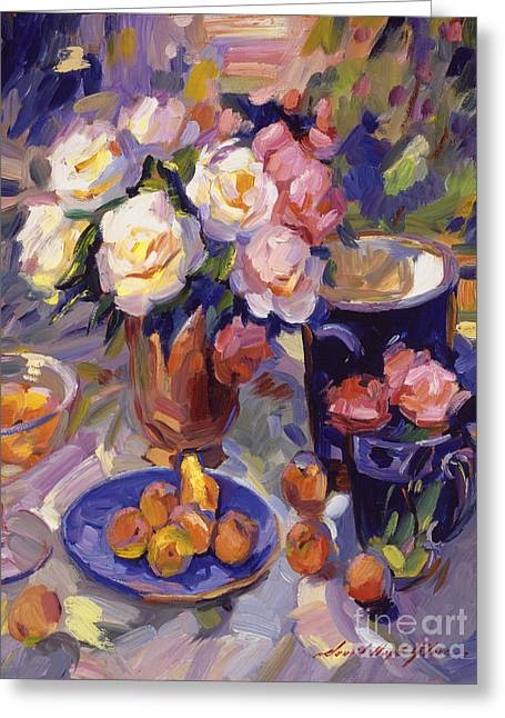 Ceramics Greeting Cards -  Flowers And Fruit At Montecito Greeting Card by David Lloyd Glover