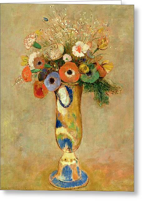 In Bloom Greeting Cards -  Flowers in a Painted Vase Greeting Card by Odilon Redon