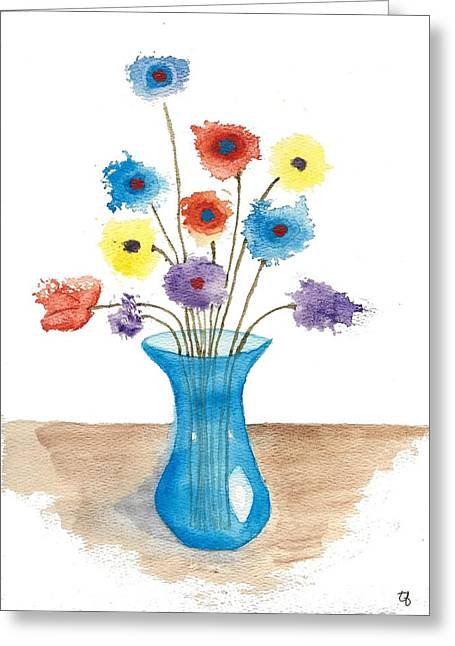 Glass Vase Greeting Cards -  Flowers in Blue Vase Greeting Card by Terry Fleckney