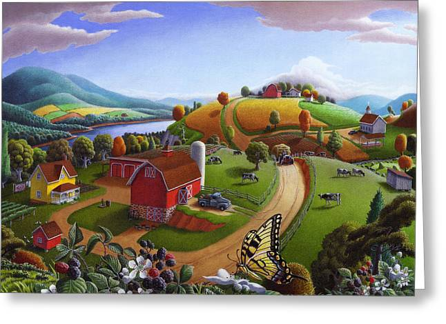 Whimsical. Greeting Cards -  Folk Art Blackberry Patch Rural Country Farm Landscape Painting - Blackberries Rustic Americana Greeting Card by Walt Curlee