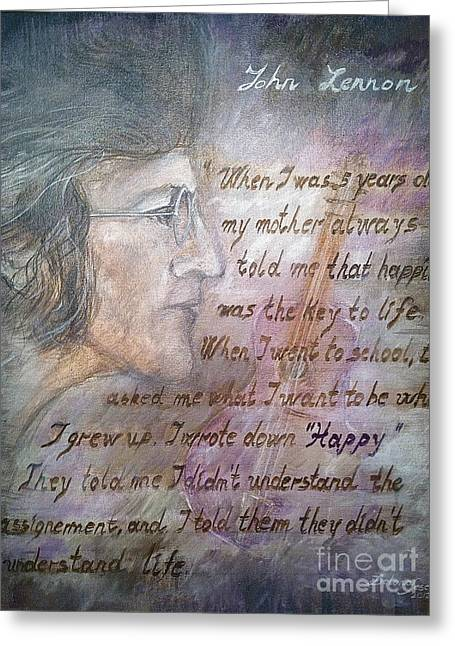 John Lennon Quote Greeting Cards -  For you John  Greeting Card by Delona Seserman