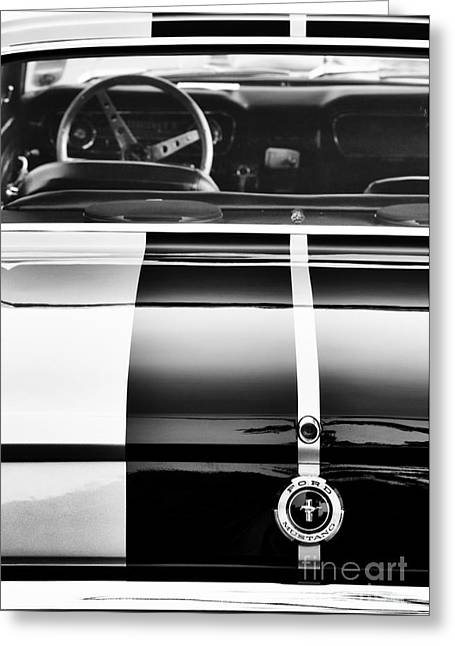 Black Boots Greeting Cards -  Ford Mustang Rear Monochrome Greeting Card by Tim Gainey
