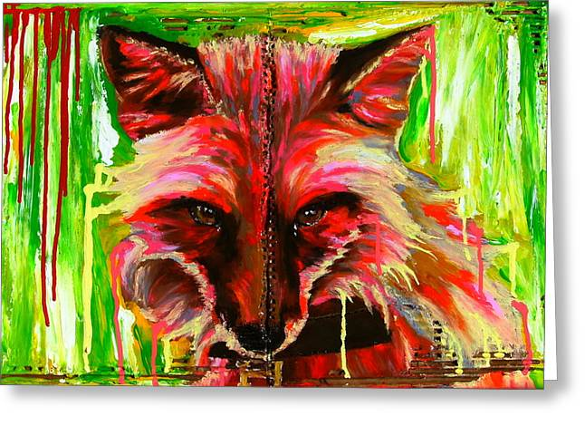 Bazevian Bazevian Greeting Cards -  Foxy lady Hermaique Greeting Card by Bazevian
