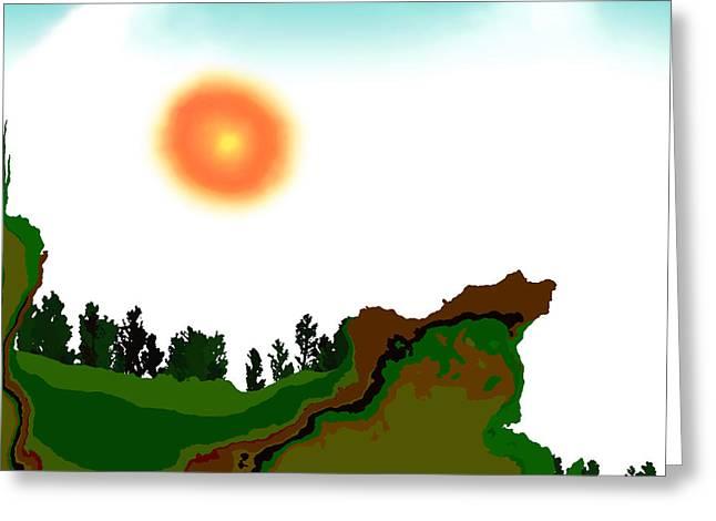 Fractal Landscape Greeting Card by GuoJun Pan