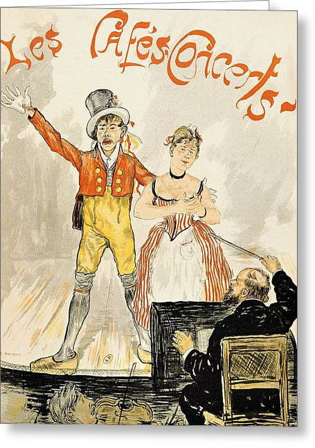 Conductor Greeting Cards -  France Paris poster of stage performance at Cafe chantant Greeting Card by Anonymous
