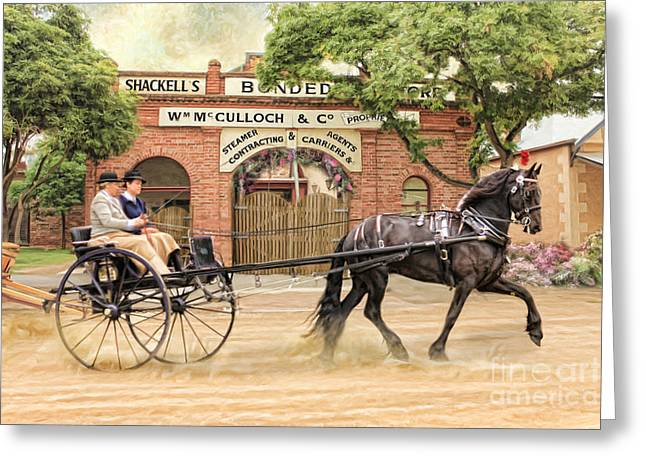 Horse And Cart Greeting Cards -  Friesian Folly Greeting Card by Trudi Simmonds