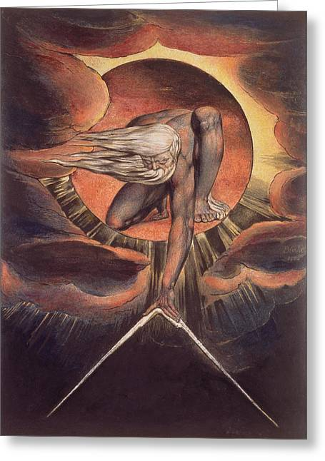 Mystic Photographs Greeting Cards -  Frontispiece from Europe. A Prophecy Greeting Card by William Blake
