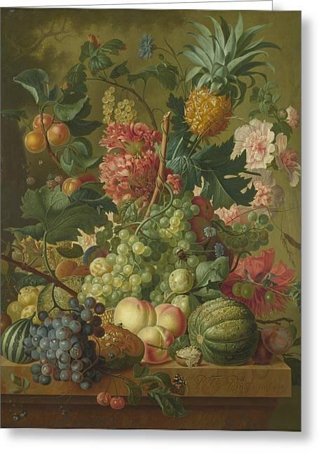 Fruit And Flowers  Greeting Card by Paulus Theodorus van Brussel