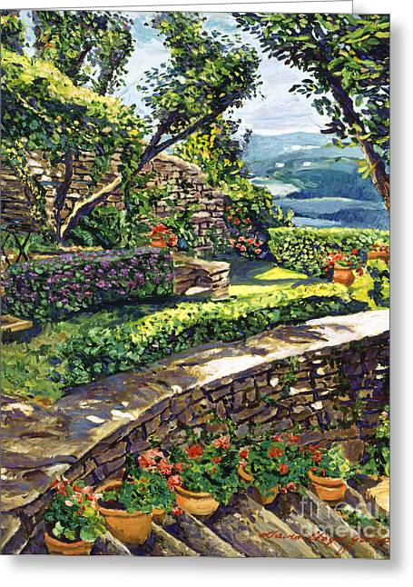 Stone Steps Greeting Cards -  Garden Stairway Greeting Card by David Lloyd Glover