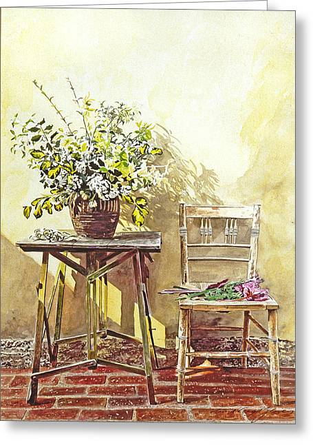 Garden Chairs Greeting Cards -  Gardeners Corner Greeting Card by David Lloyd Glover