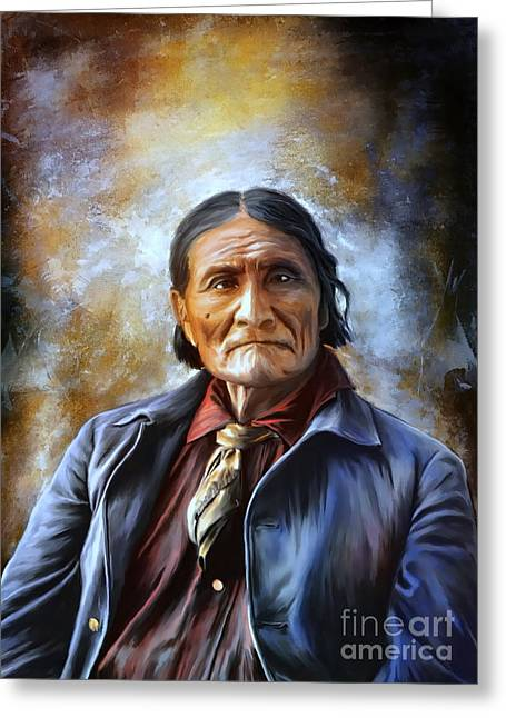Native American Illustration Greeting Cards -  Geronimo Greeting Card by Andrzej Szczerski