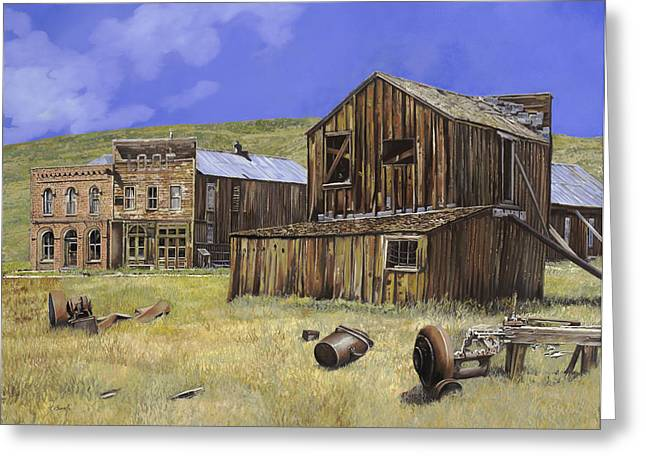 Ruins Paintings Greeting Cards -  ghost town of Bodie-California Greeting Card by Guido Borelli