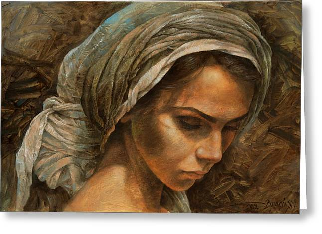 Girl In Turban Greeting Cards -  Girl in a turban Greeting Card by Arthur Braginsky