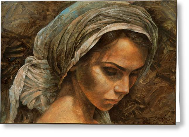 Girl In A Turban Greeting Card by Arthur Braginsky