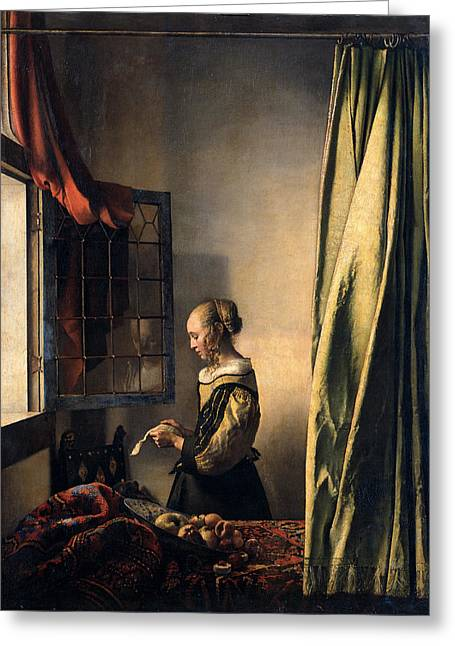 Vermeer Paintings Greeting Cards -  Girl Reading a Letter by an Open Window Greeting Card by Johannes Vermeer