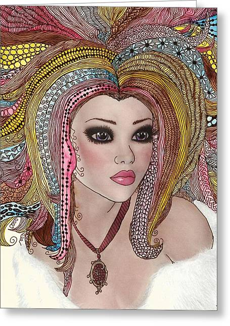 Ink Drawing Greeting Cards -  Girl With the Rainbow Hair Greeting Card by Terry Fleckney