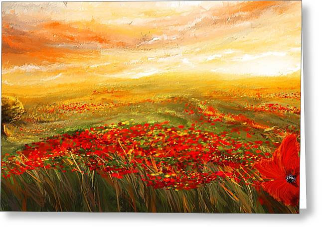 Tuscan Sunset Greeting Cards -  Glowing Rhapsody - Poppies Impressionist Paintings Greeting Card by Lourry Legarde