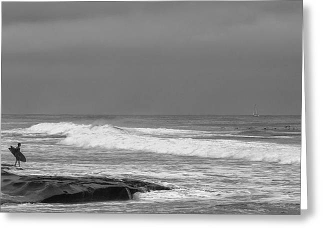 La Jolla Surfers Greeting Cards -  Goin In Black and White Greeting Card by Peter Tellone