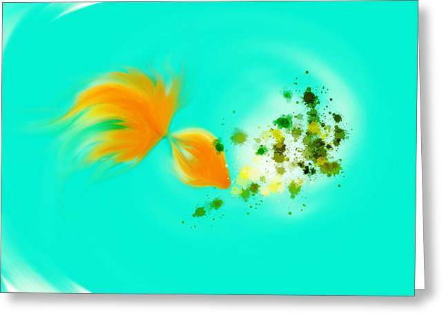 Enjoying Life Mixed Media Greeting Cards -  Gold fish 1 Greeting Card by Len YewHeng