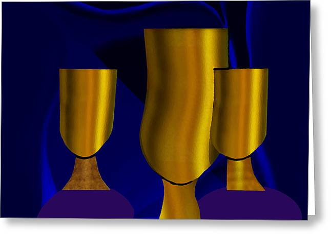 Tumbler Greeting Cards -  Golden Goblets - 782 Greeting Card by Irmgard Schoendorf Welch