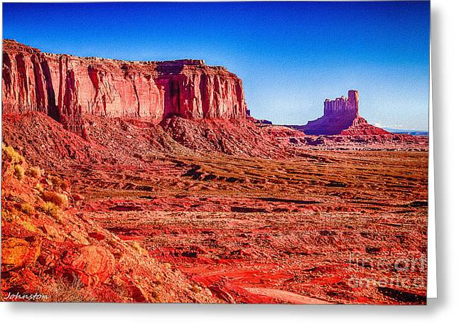 Golden Hour Sunrise In Monument Valley Greeting Card by Bob and Nadine Johnston