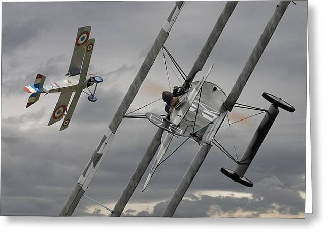 Biplane Greeting Cards -  Gotcha Greeting Card by Pat Speirs