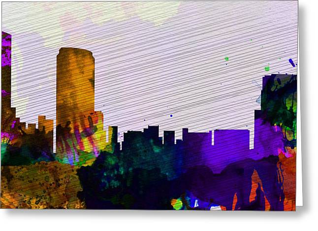 Rapids Greeting Cards -  Grand Rapids City Skyline Greeting Card by Naxart Studio