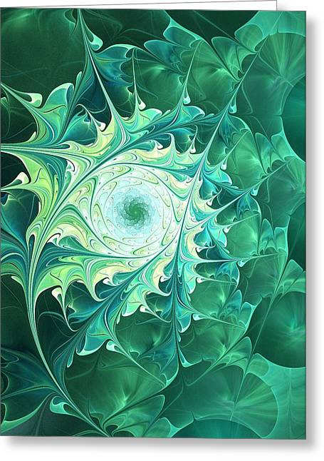 Feng Shui Art Mixed Media Greeting Cards -  Green Magic Greeting Card by Anastasiya Malakhova