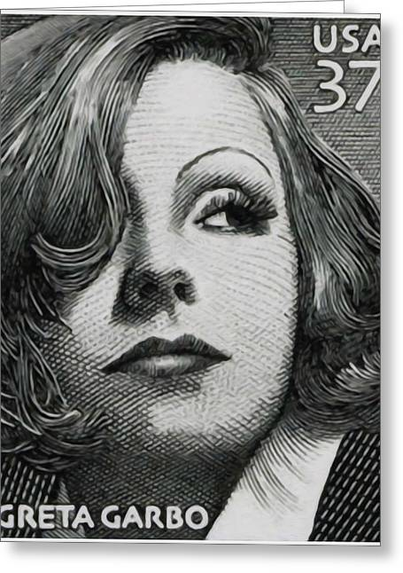 Delivering Paintings Greeting Cards -  Greta Garbo Greeting Card by Lanjee Chee