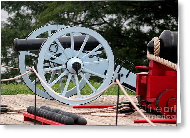 Spokes Pyrography Greeting Cards -  Grey Cannon at Fort McHenry Greeting Card by Cynthia Snyder