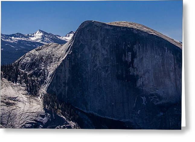 Dome Pyrography Greeting Cards -  Half Dome plus left  w-Sky  Greeting Card by Michael Havice