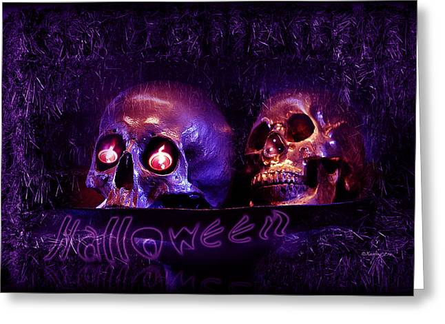 Dinner Party Invitation Greeting Cards -  Halloween Party  Greeting Card by Xueling Zou