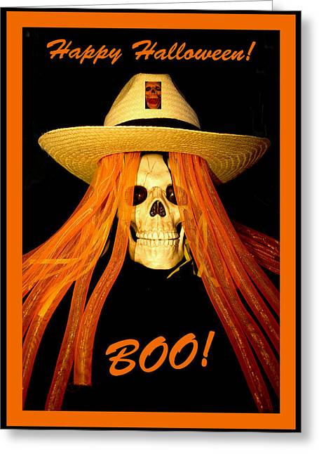 Magic Hat Greeting Cards -  Happy Halloween Skull Greeting Card by Barbara Snyder