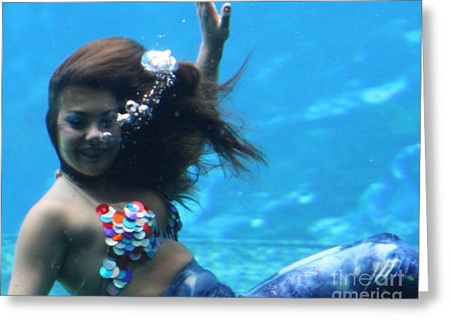 Floating Girl Greeting Cards -  Happy Mermaid Greeting Card by Chuck  Hicks